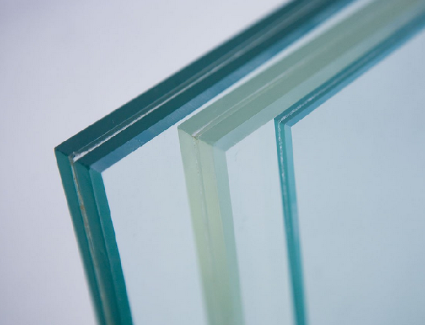 Image close-up of laminated security glass
