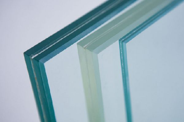 Image of laminated security glass showing construction layers